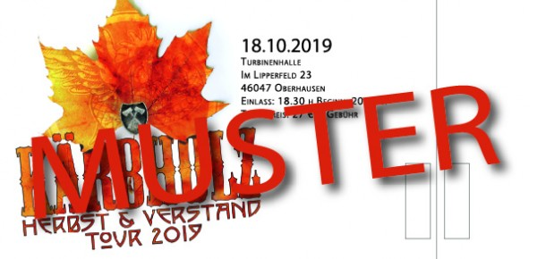 """Tour Ticket """"Herbst & Verstand"""" - Oberhausen 18.10.2019 -"""