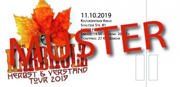 """Tour Ticket """"Herbst & Verstand"""" - Fulda 11.10.2019 -"""
