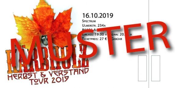 """Tour Ticket """"Herbst & Verstand"""" - Augsburg 16.10.2019 -"""