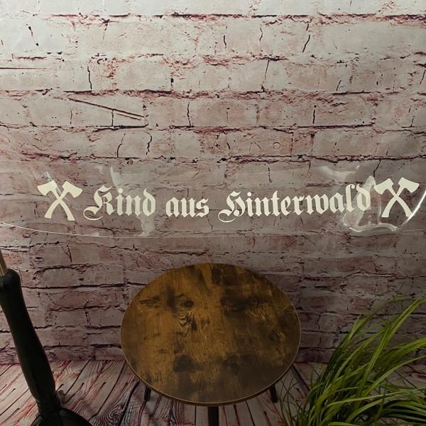 """Heckscheibenaufkleber """"Kind aus Hinterwald"""""""