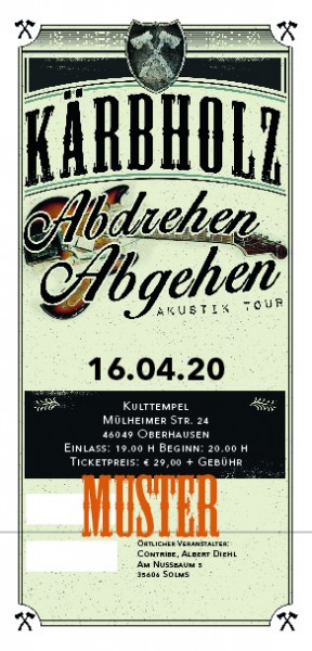 Ticket Akustiktour Oberhausen, Kulttempel - 16.09.2020 - Zusatzshow